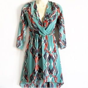 Stitch Fix Everly High Low Wrap Dress in Turquoise